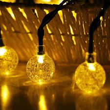 ĐÈN LED Quả Cầu Pha Lê Năng Lượng Mặt Trời Chống Nước Ngoài Trời Dây Đèn  Chạy Bằng Năng Lượng Mặt Trời Quả Cầu Tiên Dây Đèn Cho Lễ Hội Bên Ngoài