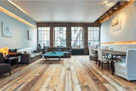 Reclaimed wood flooring in a contemporary style living room