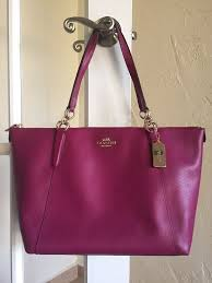 Coach F35808 Crossgrain Leather Ava Chain Tote Fuchsia Shoulder Bag   eBay