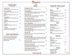 Customers are free to download and save these images, but not use these digital files. Menu David S Cafe