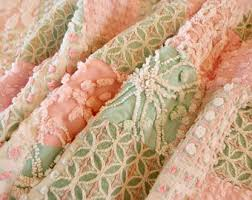 Chenille quilt   Etsy & Vintage Chenille Baby quilt made in shades of pink, green & white with  Rosebuds crib Adamdwight.com