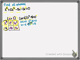 solve a polynomial equation w four terms