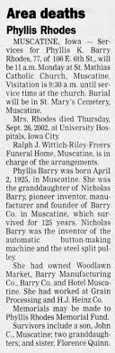 Phyllis K Barry Rhodes Funeral 2002 - Newspapers.com
