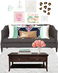 Pink And Green Home Decor Birch Grove Interiors Grey Couch Pastel Home Decor Gold Sequin