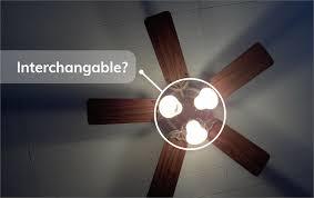 are ceiling fan light kits interchangeable