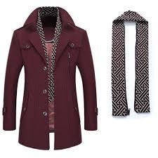 mens winter warm casual business woolen long trench coat turndown collar slim fit jacket