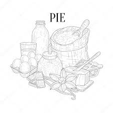 pie baking ponents still life hand drawn realistic sketch stock vector