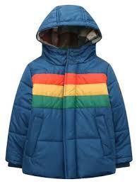 Product Image Richie House Little Boys Blue Rainbow Stripe Hooded Padding Jacket 1/2 Toddler Coats \u0026 Jackets - Walmart.com