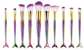professional mermaid cosmetic makeup brush set 10 piece