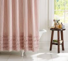 ticking stripe ruffle shower curtain saved view larger roll over image to zoom view in room