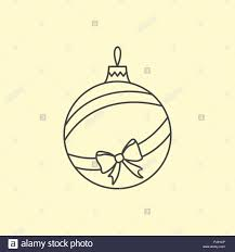 Vector Simple Christmas Tree Ball With Ribbon And Bow Line