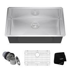 kraus 30 inch undermount single bowl 16 gauge stainless steel kitchen sink with noisedefend 8482