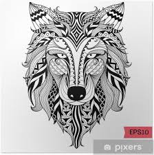 Plakát Detail Zentangle Vlk Pro Barvení Stránku Tetování Tričko Design Efektu A Logem