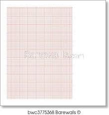 Graph Paper A4 Sheet Red Art Print Poster