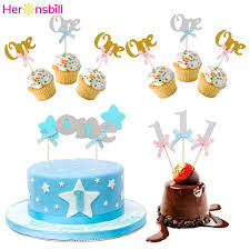 The one year old birthday cake either baked at home or in the confectioner's shop will be the final sweet destination of the table. Heronsbil 10pcs First Birthday Glitter Paper 1 Cupcake Toppers 1st Birthday Party Decorations My One Year Baby Boy Girl Supplies Banners Streamers Confetti Aliexpress
