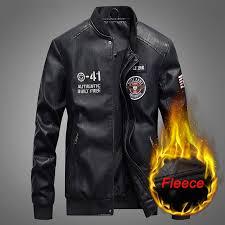 fashion leather jacket men autumn winter military jackets