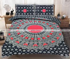 kp72 king size red black peacock feather embroidered cotton hippi