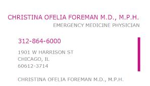 1306251251 NPI Number   CHRISTINA OFELIA FOREMAN M.D., M.P.H. ...