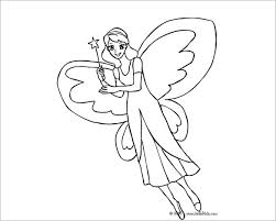 Fairy with Big Butterfly Wings Coloring Page 21 fairy coloring pages free printable word, pdf, png, jpeg on book report template download word