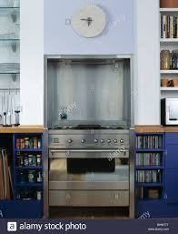 Kitchen Alcove Close Up Of Stainless Steel Range Oven Set Into Alcove In Modern