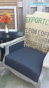 burlap furniture. Vintage Rocking Chair Updated With Graphic Burlap Coffee Sack And Restoration Hardware Finish | Anastasia Furniture A