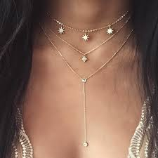 Trendy Gold Color Crystal Stars Drop Layers Choker Necklace for ...