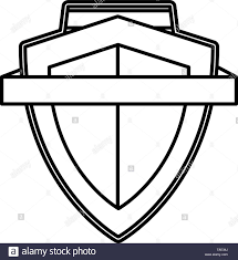 Ribbon Banner Template Black And White Shield Ribbon Banner Emblem Template Vector Illustration