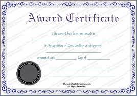 Award Certificate Templates Free Achievement Award Certificate Template Free Example 2722