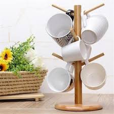 Coffee Cup Display Stands Extraordinary WOOD MUG RACK Holder Tree Coffee Cup Storage Stand Kitchen Home
