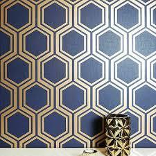 geometric hexagon wallpaper navy blue