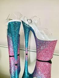 <b>Custom</b> Glitter Angled Ombre Pole Dance / Stripper Heels / Stiletto ...