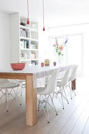 table cloth for wood dining room table wood floor white chairs flowers hanging ls bookshelves brightness