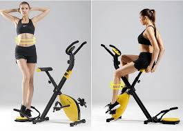 woman achieving weight loss with exercise bike