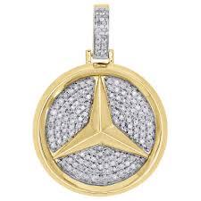 details about 10k yellow gold over diamond 3d mercedes medallion pendant mens charm 1 75 ct