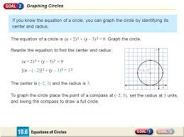 graphing circles if you know the equation of a circle you can graph the circle