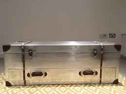large industrial silver aluminium trunk coffee table media unit