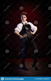 Light Blue Steampunk Dress Emotional Woman In Steampunk Costume Stock Photo Image Of