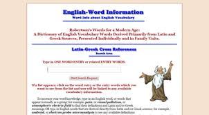Word Origins Website Visit Wordinfo Info Word Information An English