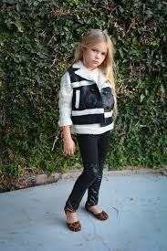 image of pop couture detailed mesh faux leather panel leggings toddler little girls