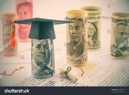 graduation cap put on us stock photo shutterstock graduation cap put on us 100 dollar bill a diploma or certificate famous currencies