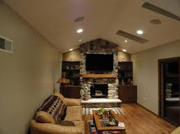 Decorations:Home Entertainment Room With Stone Wall Accent Also Wall Tv Set  And Shabby Leather