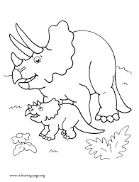 Look! Here is a <b>Triceratops dinosaur</b> mother and her <b>cute</b> baby ...