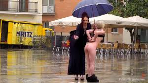Teenage girls spanked nude in public