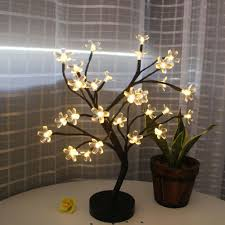 details about uk diy led cherry blossom tree bonsai light table bedside lamp room party decor