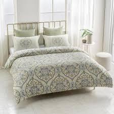 gracia wrinkle resistant reversible print 100 organic cotton yellow green king duvet cover set