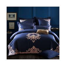 svetanya embroidered egyptian cotton bedding sets queen king size flat bedsheet pillowcases duvet cover set blue color 20171446 size king 4pc set