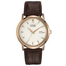 citizen watches ernest jones citizen eco drive men s gold plated leather strap watch product number 9621733