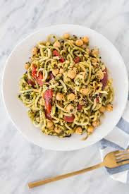 spiralized parsnips with pesto roasted red peppers and peas