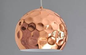 pair of hammered copper pendant lights early century for light hanging lamp id f