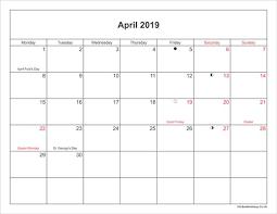 Printable Calendar Vertex42 April 2019 Calendar With Holidays Uk